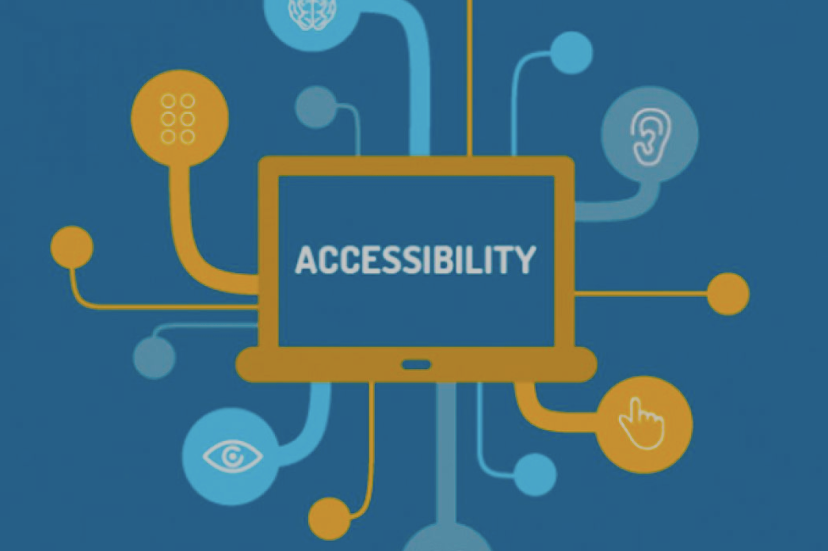 """Image shows a screen with the words """"accessibility"""" and angular lines reaching out to connect with symbols of accessibility."""