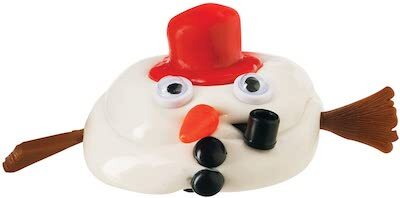 """A snowman made from """"melting"""" white putty, a red hat, a black pipe and buttons, googly eyes, and stick arms mugs for the camera."""