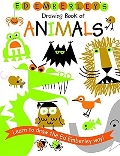 Ed Emberley's Drawing Book of Animals features colorful animals hand-drawn across the cover.