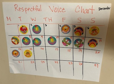 """A hand-drawn calendar for December labeled """"Respectful Voice Chart"""" has colorful stickers marking a mom's successes."""