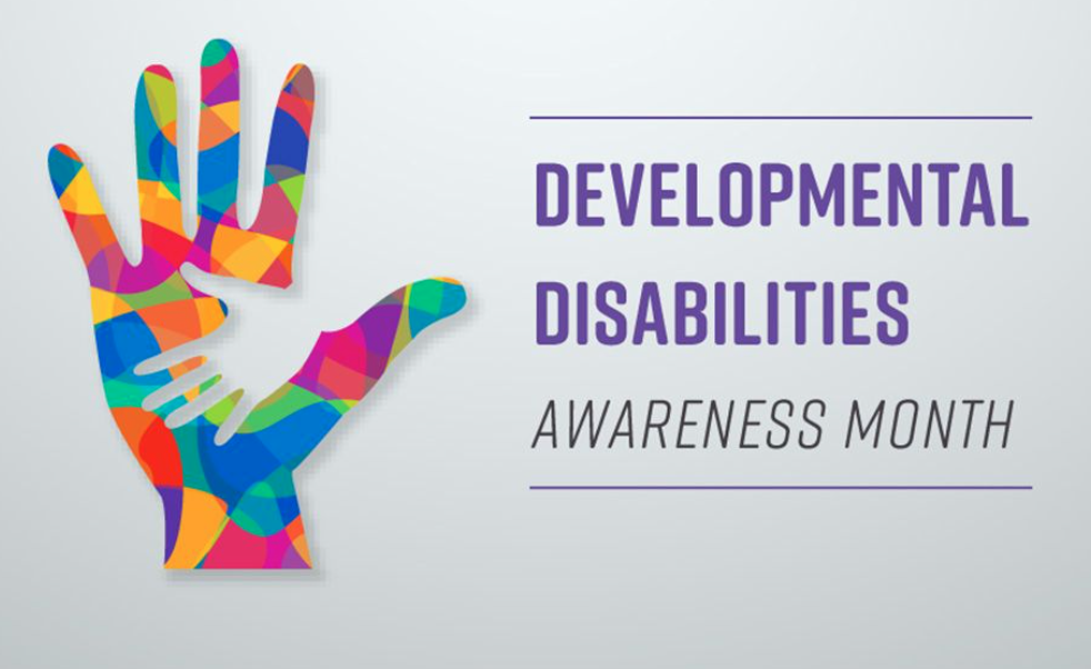 """A multicolored handprint is next to the words """"Developmental Disabilities Awareness Month"""" in purple font."""