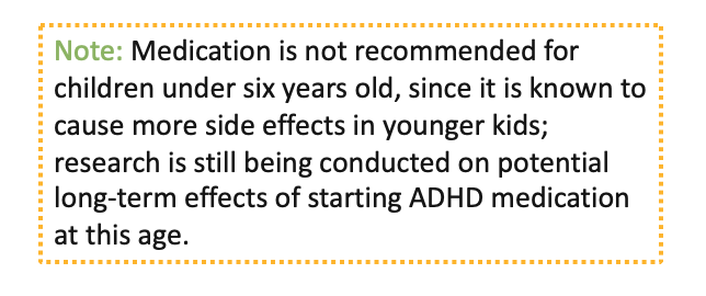 Note: Medication is not recommended for children under six years old, since it is known to cause more side effects in younger kids; research is still being conducted on potential long-term effects of starting ADHD medications at this age.